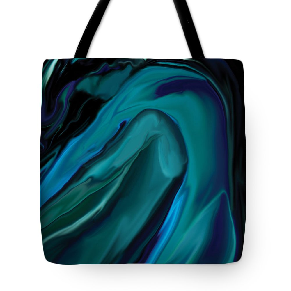 Abstract Tote Bag featuring the digital art Emerald Love by Rabi Khan