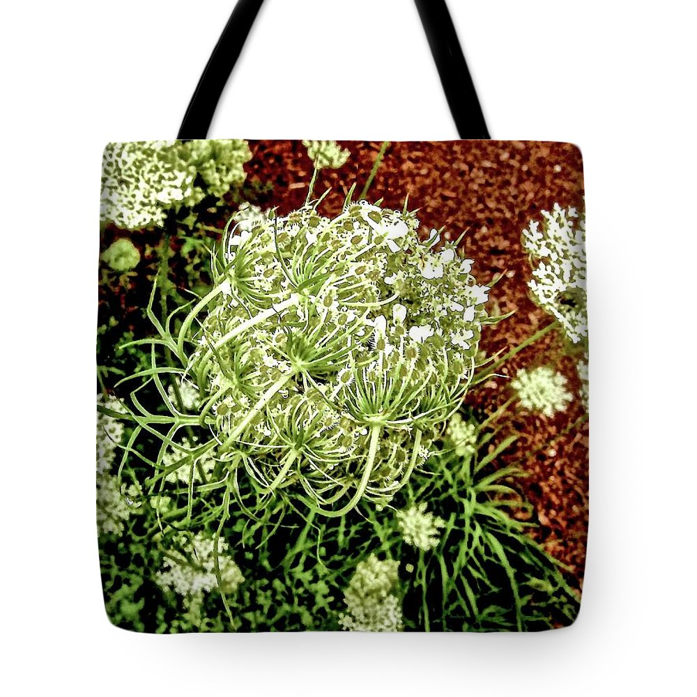 Queen Anne's Lace Tote Bag featuring the photograph Emergence 3 by Elizabeth Tillar