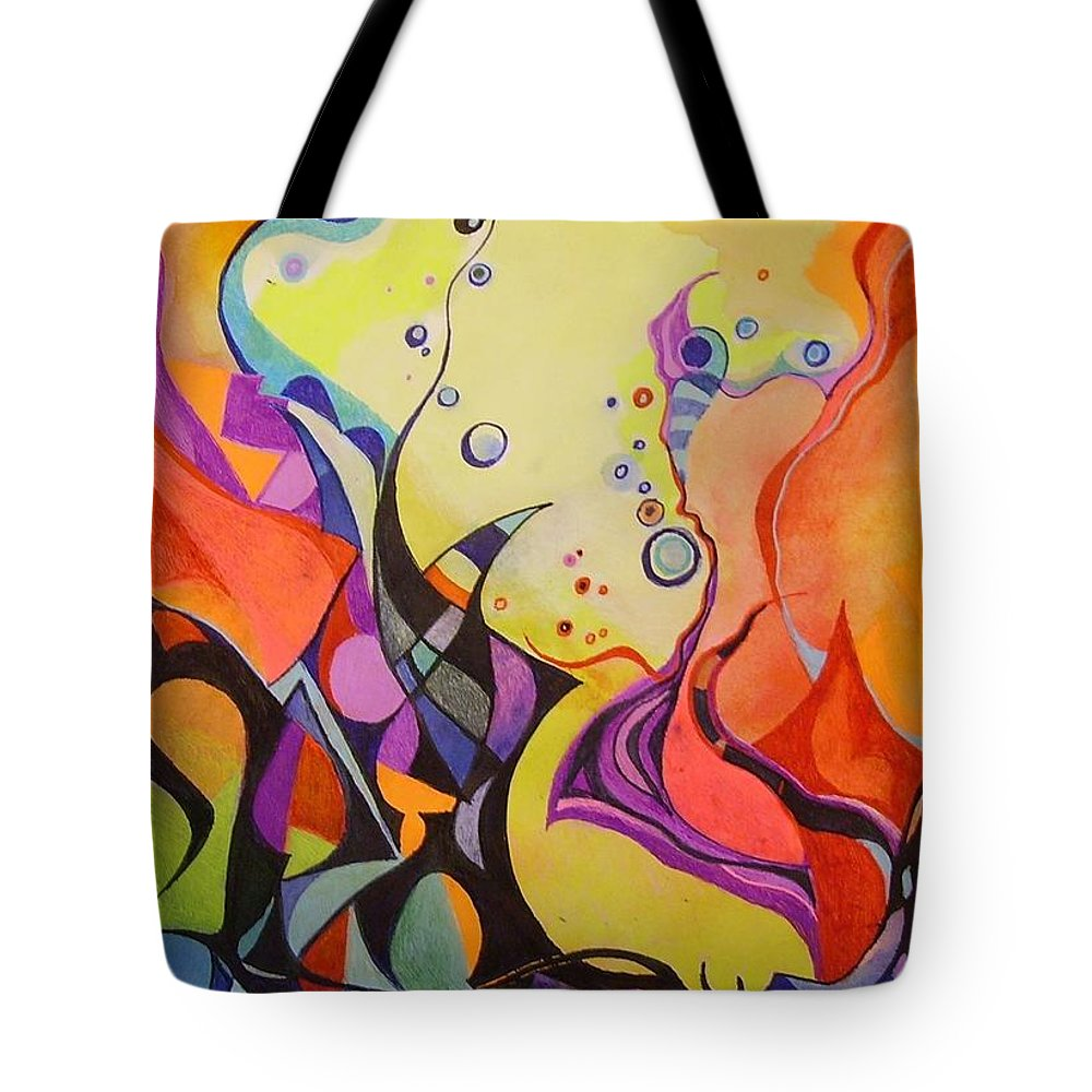 Watercolors Pens Paper Abstract Tote Bag featuring the painting Emergence by Wolfgang Schweizer