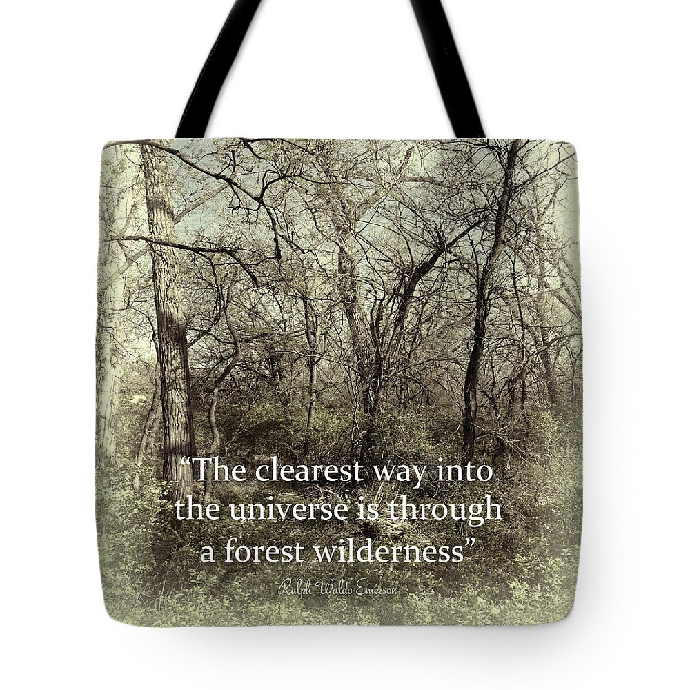 Quote Tote Bag featuring the photograph Emerson Quote Into The Universe - Text On Photography by Ann Powell