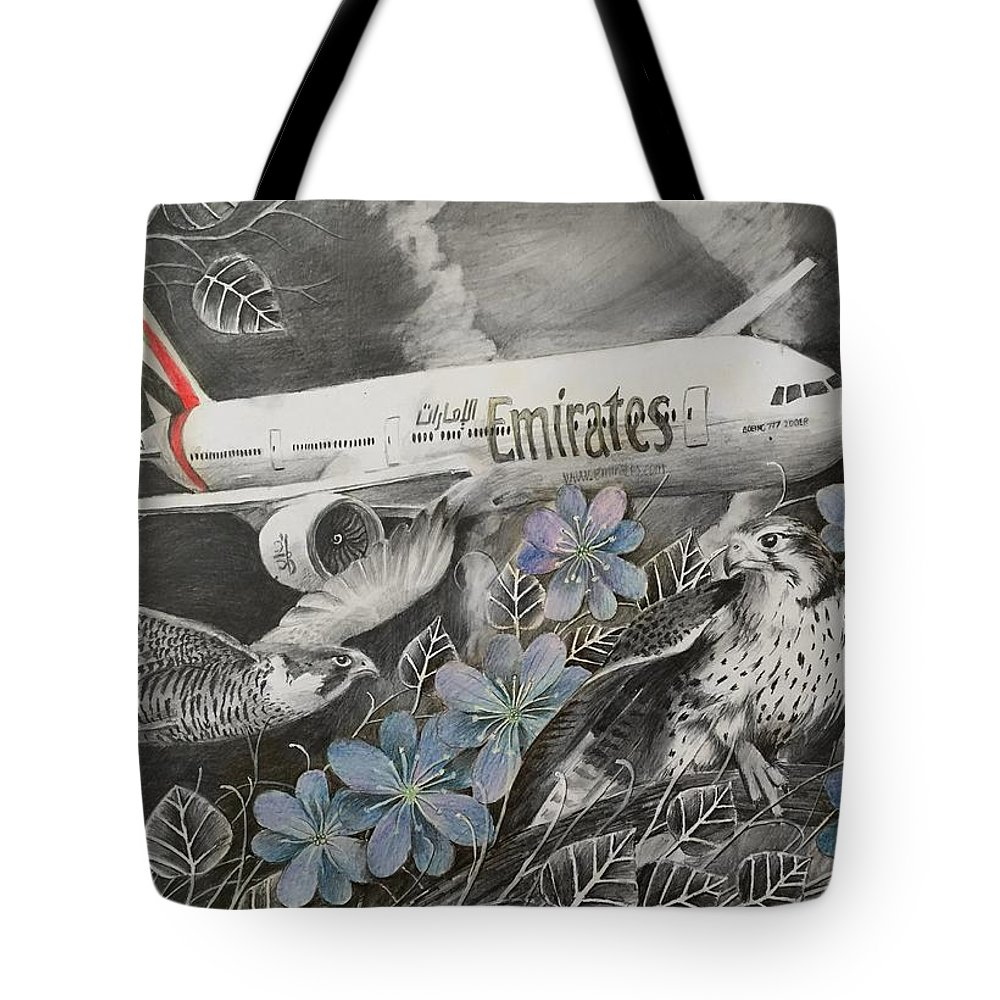 Airplanes Tote Bag featuring the drawing Emirates by Julia Kravets