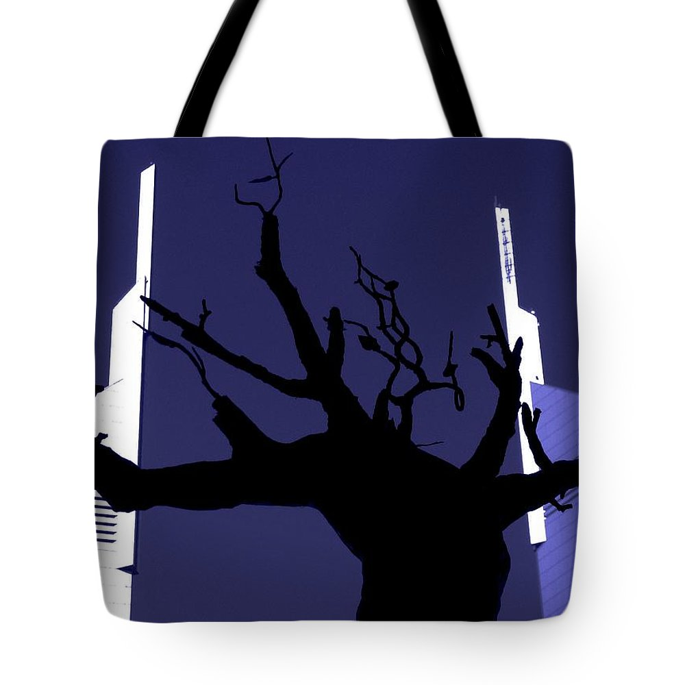Uae Tote Bag featuring the photograph Emirates Tower Abstract by Jeff Watts