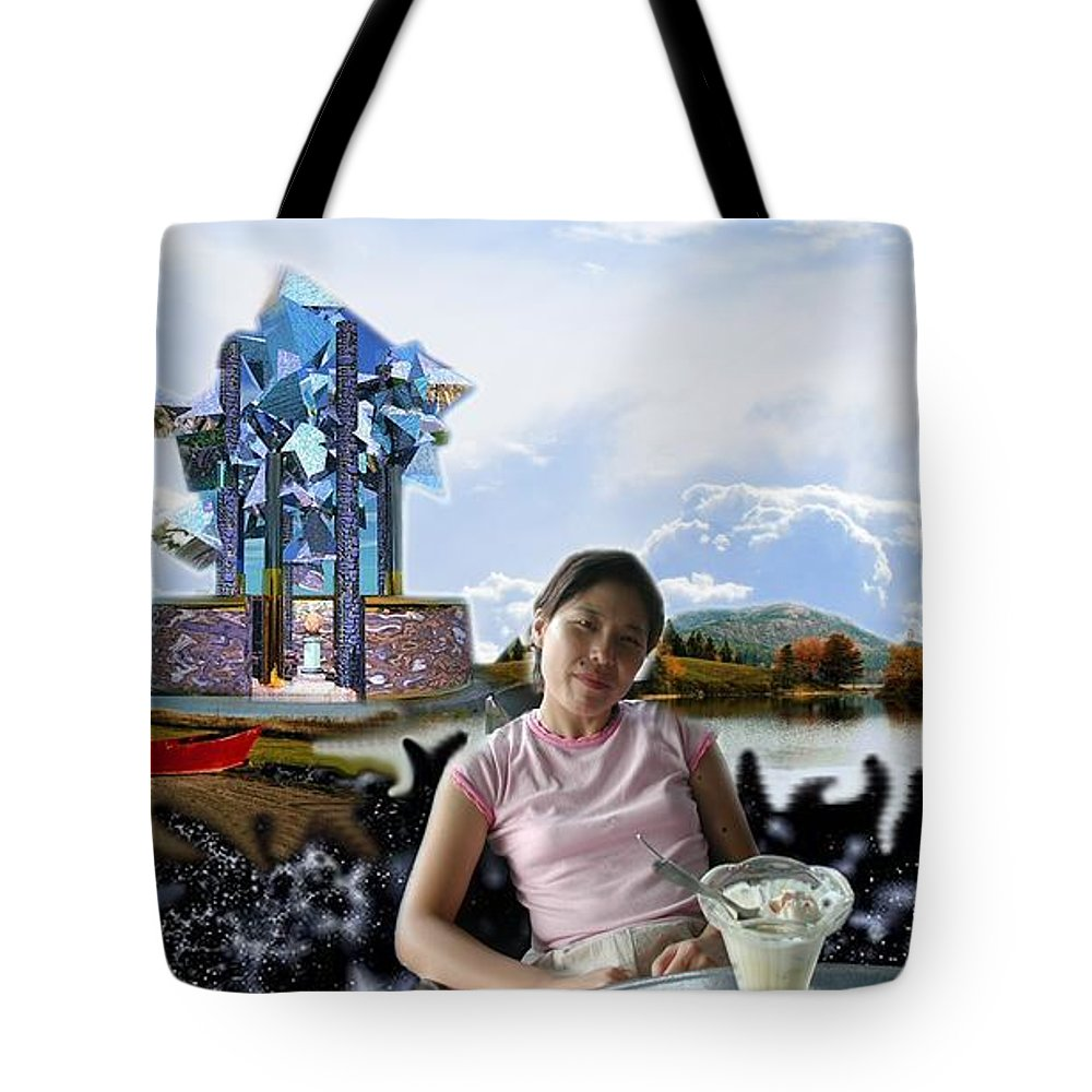 Spacem Maine Tote Bag featuring the digital art Emma's Afternoon Snack by Dave Martsolf