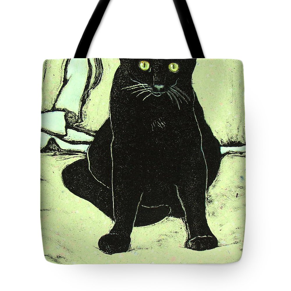 Cat Portrait Tote Bag featuring the mixed media Emo by Pamela Iris Harden