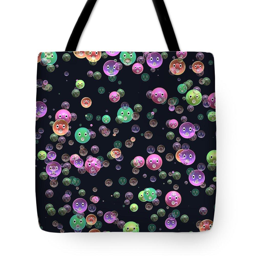 Happy Tote Bag featuring the digital art Emoticon Plastic Faces by Miroslav Nemecek