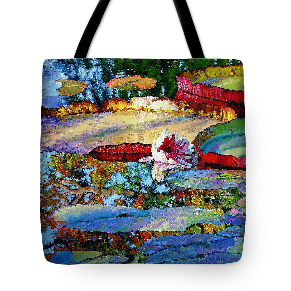 Garden Pond Tote Bag featuring the painting Emotions of Color Light and Texture by John Lautermilch