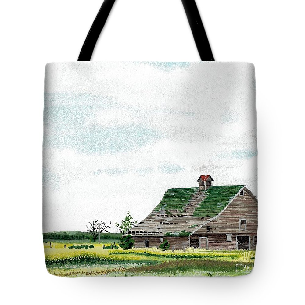 Barn Tote Bag featuring the painting Empty Barn by David Wolfer