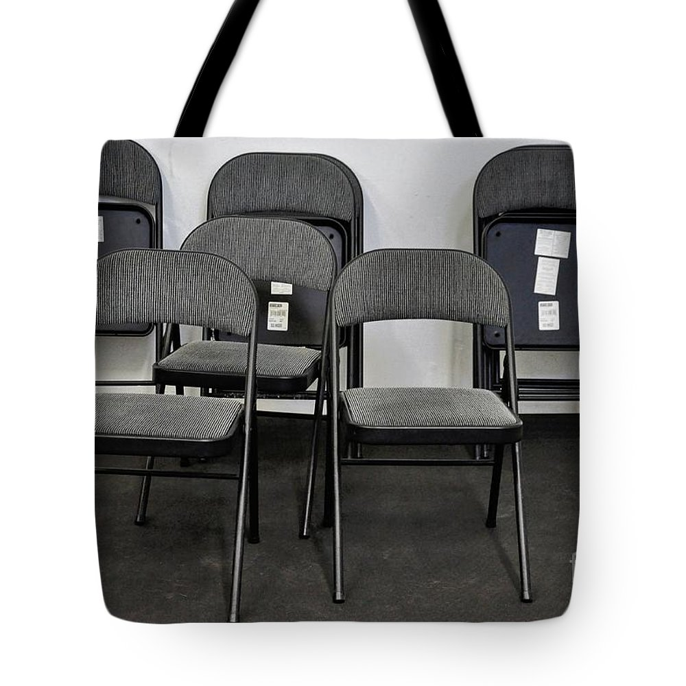 Chairs Tote Bag featuring the photograph Empty Chairs by Merrimon Crawford