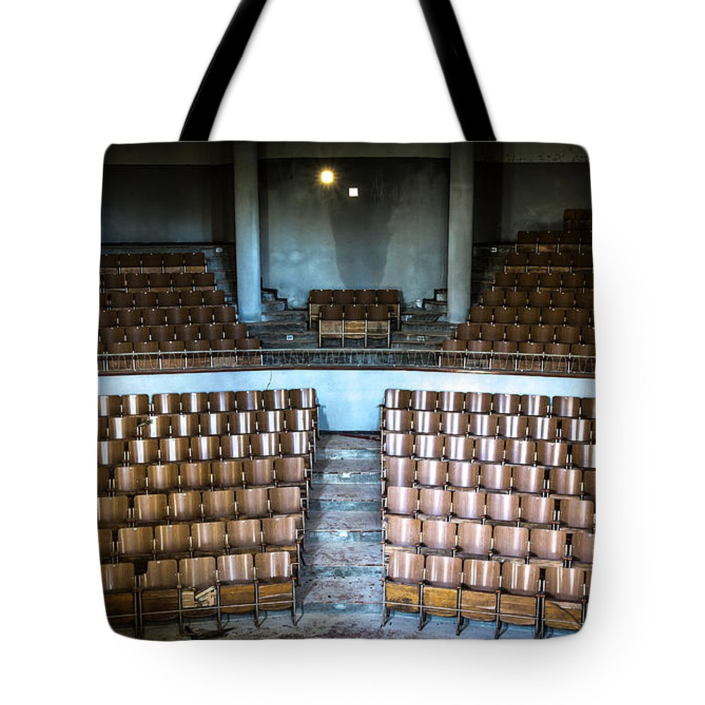 Abandoned Tote Bag featuring the photograph Empty Movie Theater - Urban Exploration by Dirk Ercken