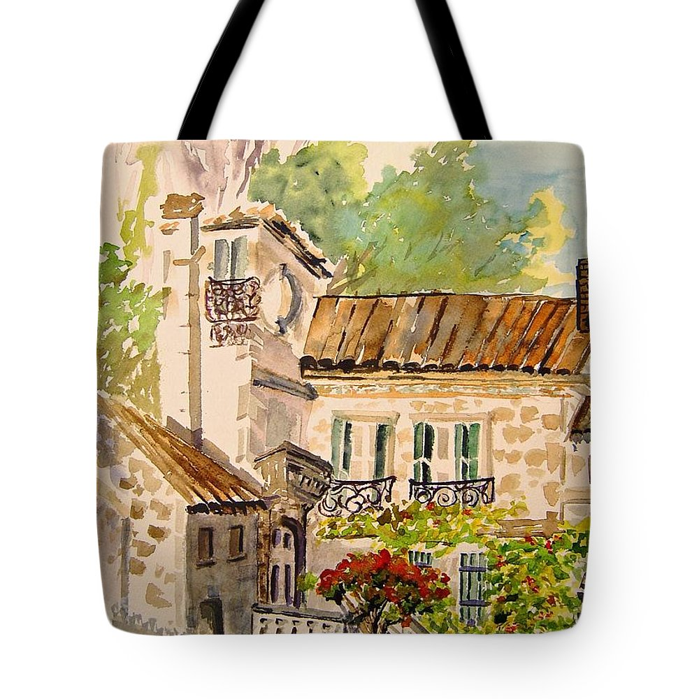France Tote Bag featuring the painting En Plein Air At Moulin De La Roque France by Joanne Smoley