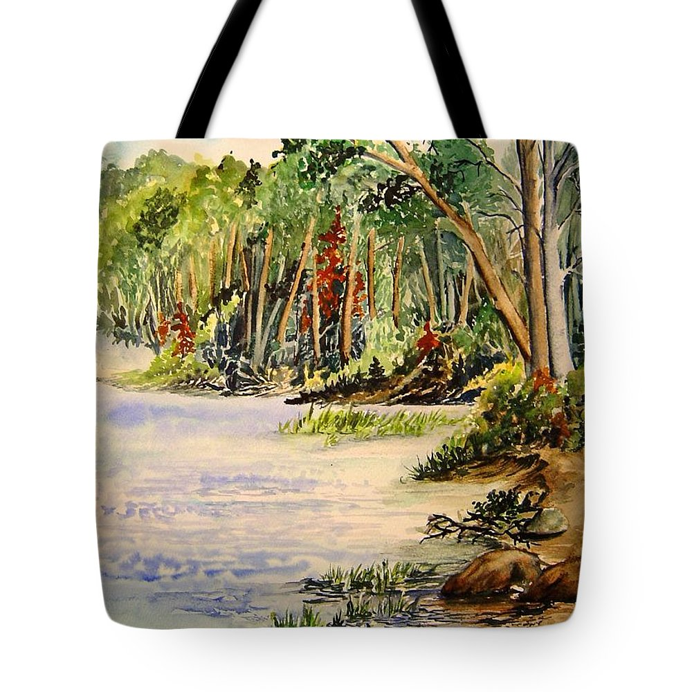 Otter Falls Manitoba Whiteshell Lake Landscape Tote Bag featuring the painting En Plein Air At Otter Falls Boat Launch by Joanne Smoley