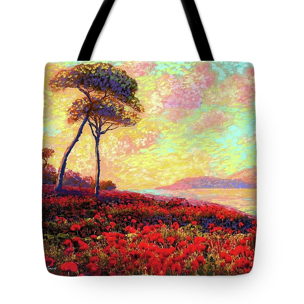 Floral Tote Bag featuring the painting Enchanted by Poppies by Jane Small