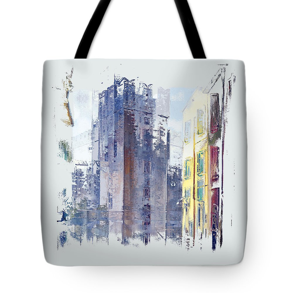 Abstract Tote Bag featuring the digital art Enchanted City 2 Pf by Ronald Bolokofsky