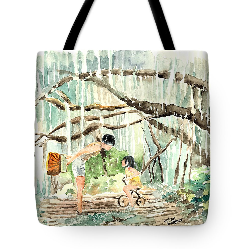 Tree Tote Bag featuring the painting Enchanted Forest by Arline Wagner
