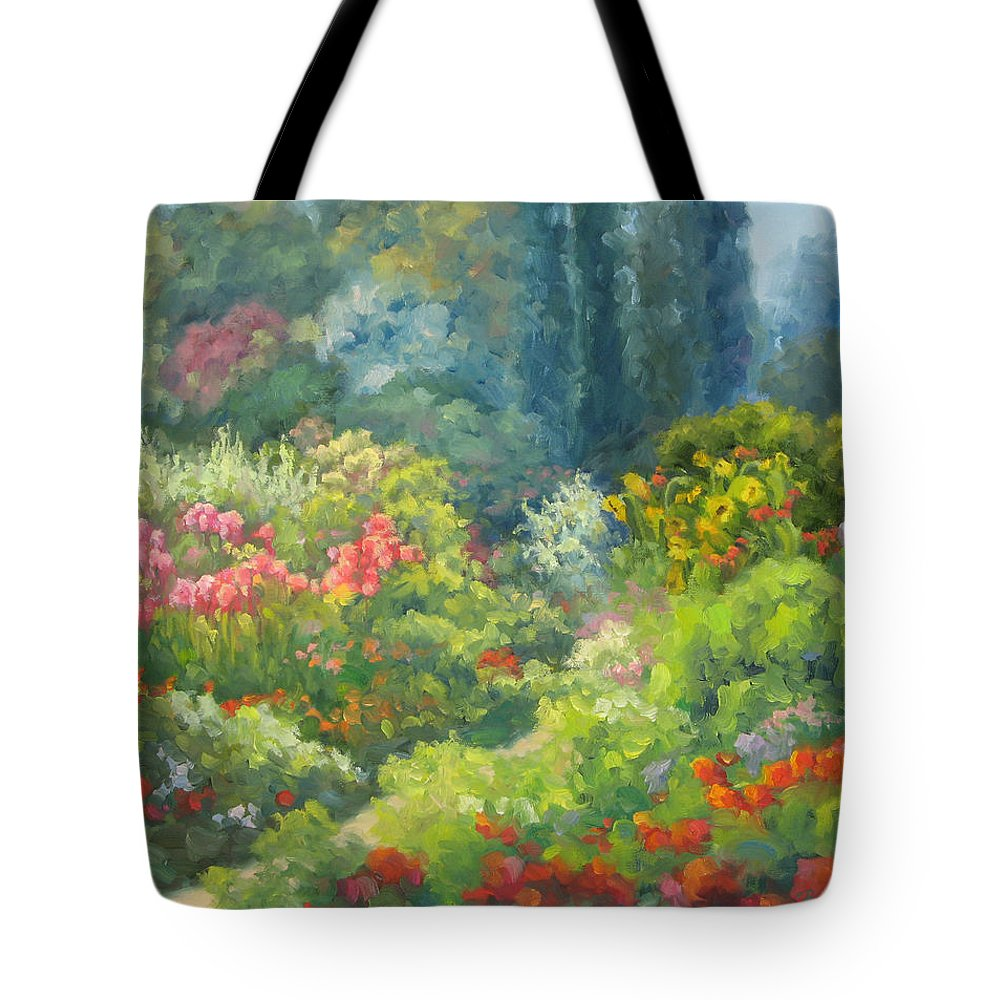 Landscape Tote Bag featuring the painting Enchanted Garden by Bunny Oliver