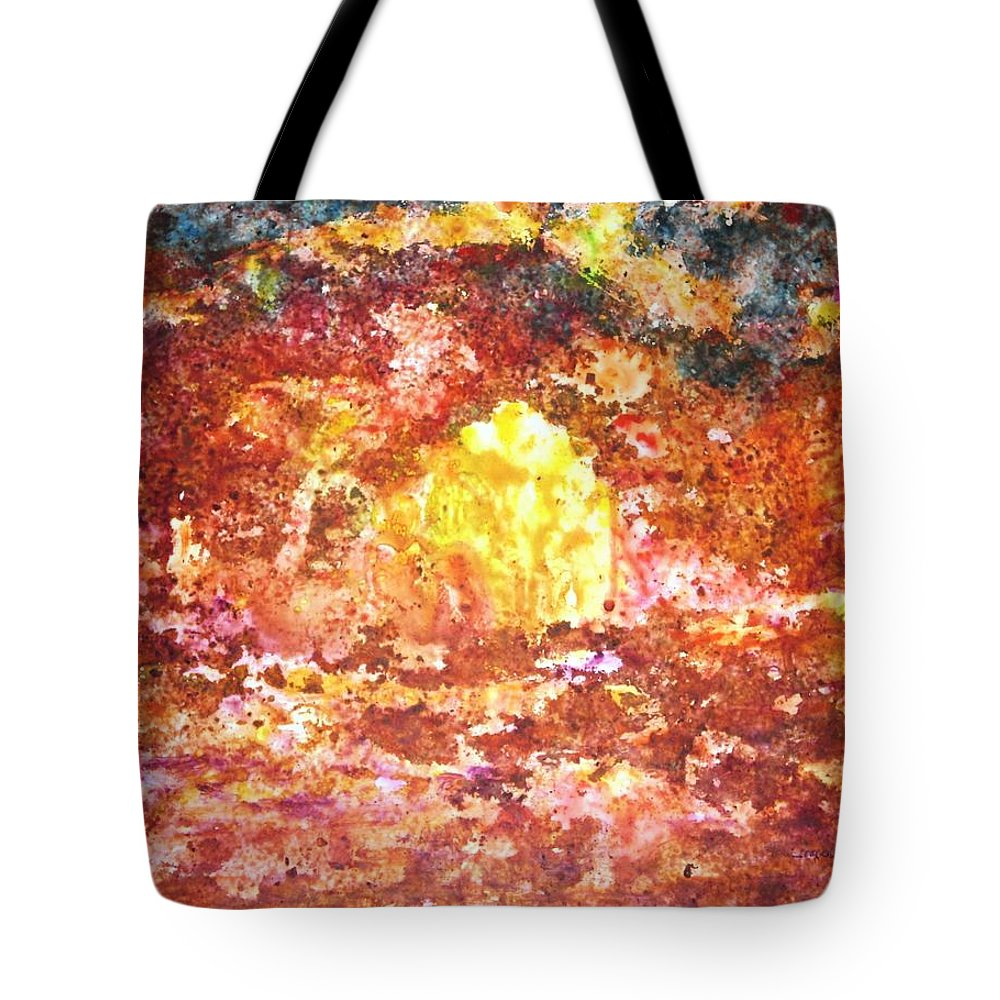 Abstract Color Yupo Paper Landscape Forest River Lava Lake Fire Earth Tote Bag featuring the painting Enchanted by Manjiri Kanvinde
