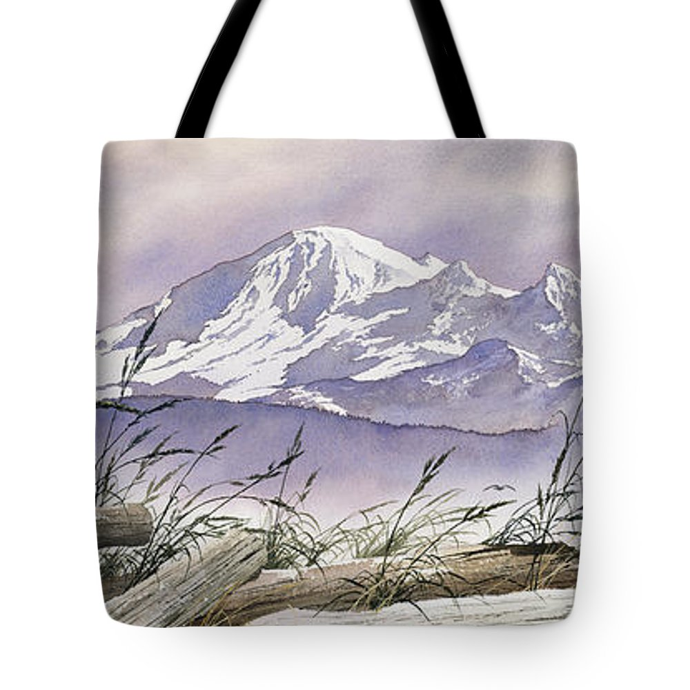 Landscape Fine Art Print Tote Bag featuring the painting Enchanted Mountain by James Williamson