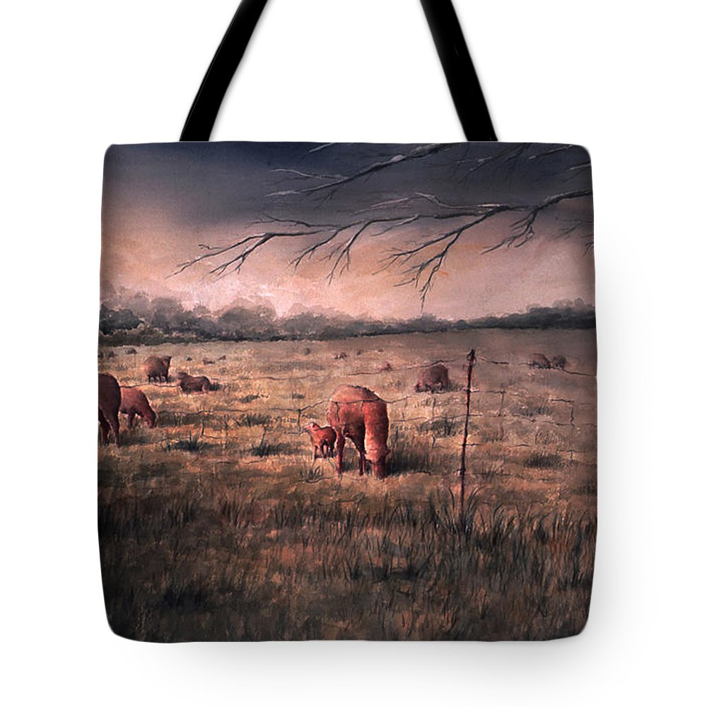 Landscape Tote Bag featuring the painting A childhood by William Russell Nowicki