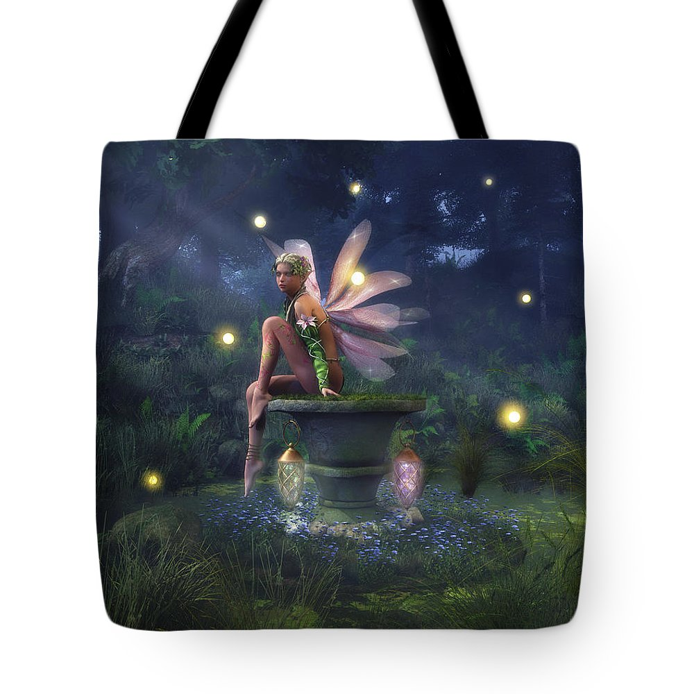 Forest Tote Bag featuring the digital art Enchantment - Fairy Dreams by Melissa Krauss