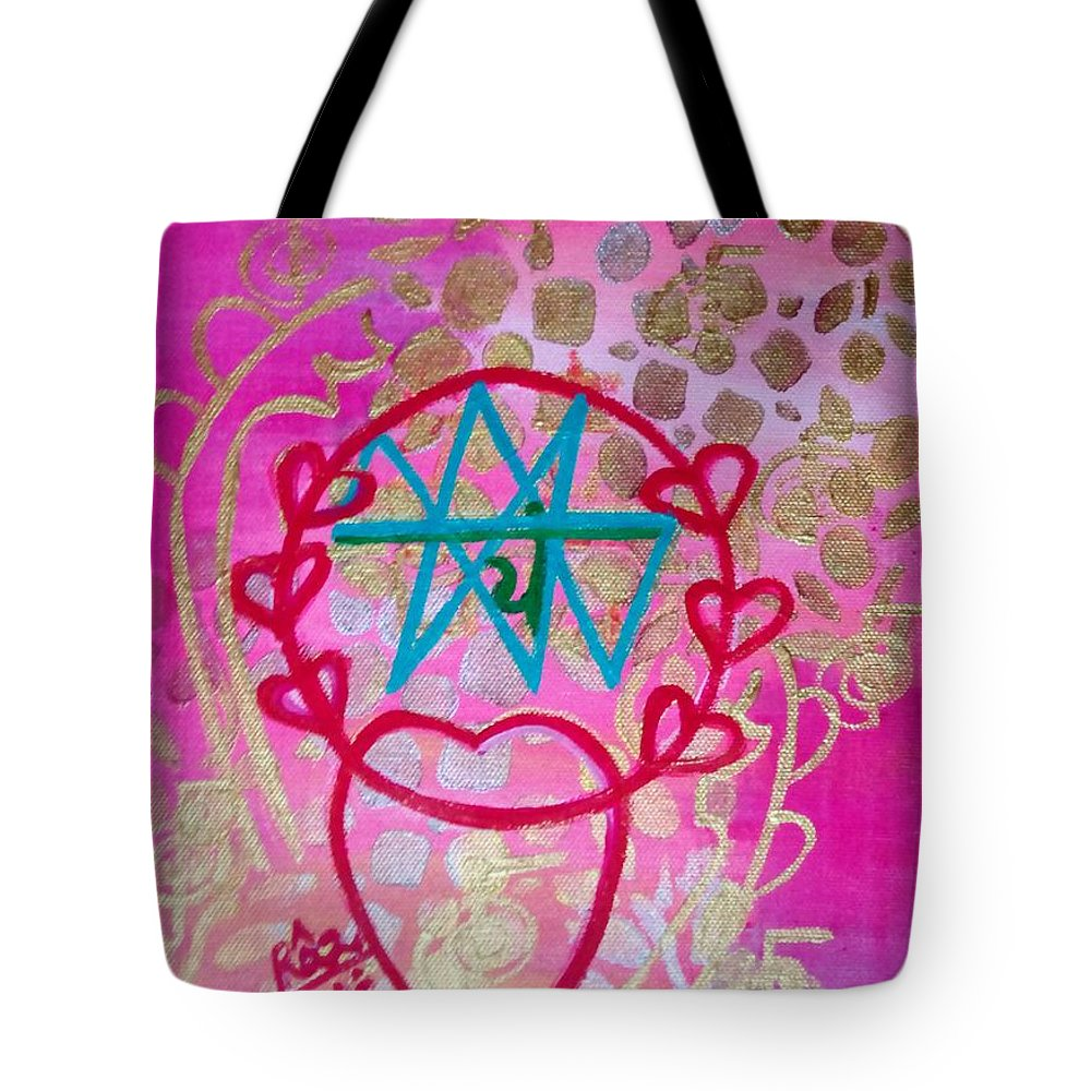 Reiki Symbol Love Tote Bag featuring the painting Encircled Love by Rizwana Mundewadi
