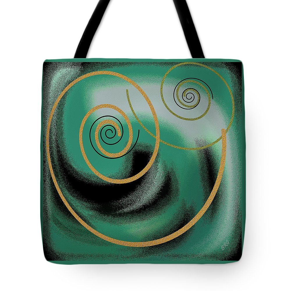 Green Abstract Tote Bag featuring the digital art Encounter by Ben and Raisa Gertsberg