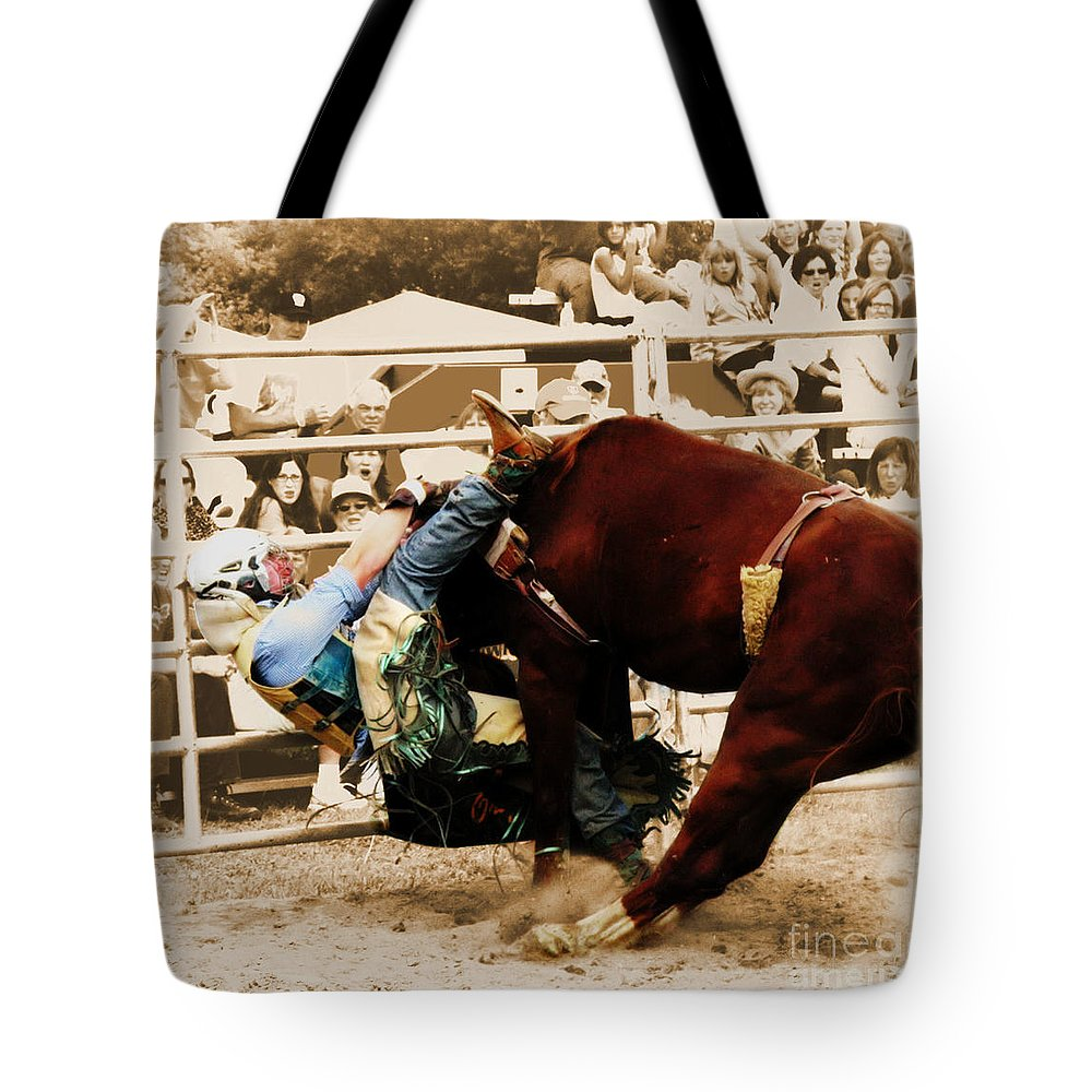 Sepia Tote Bag featuring the photograph End Of A Helluva Ride by September Stone