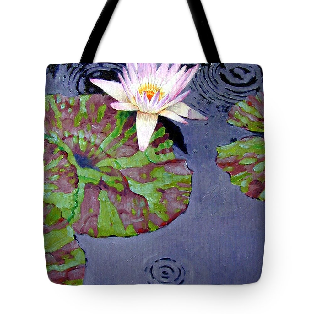 Water Lily Tote Bag featuring the painting End Of Shower by John Lautermilch