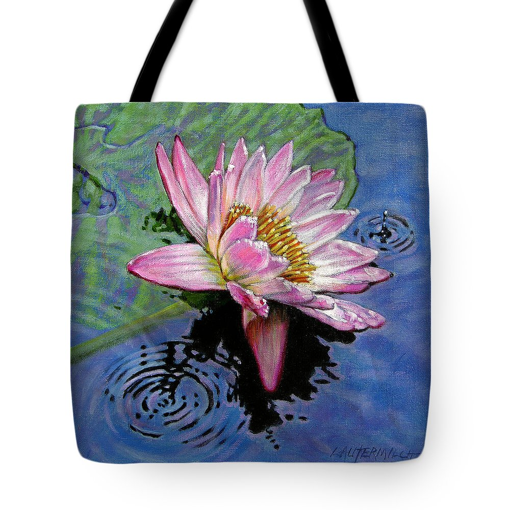 Water Lily Tote Bag featuring the painting End Of Summer Shower by John Lautermilch