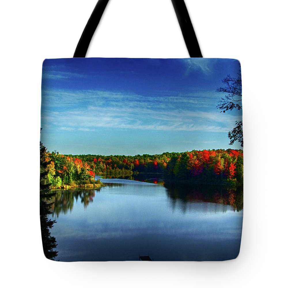 Medford Tote Bag featuring the photograph End Of The Day At The Lake by Tommy Anderson