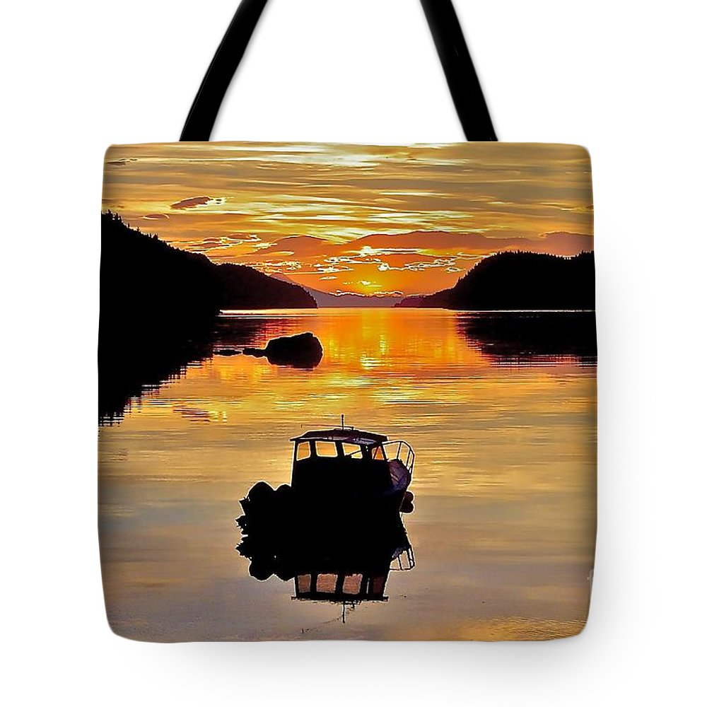 Boat Tote Bag featuring the photograph End Of The Day by Rick Monyahan