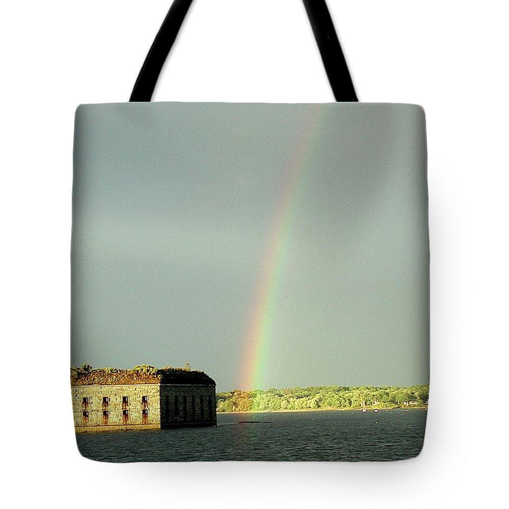 Rainbow Tote Bag featuring the photograph End Of The Rainbow by Faith Harron Boudreau