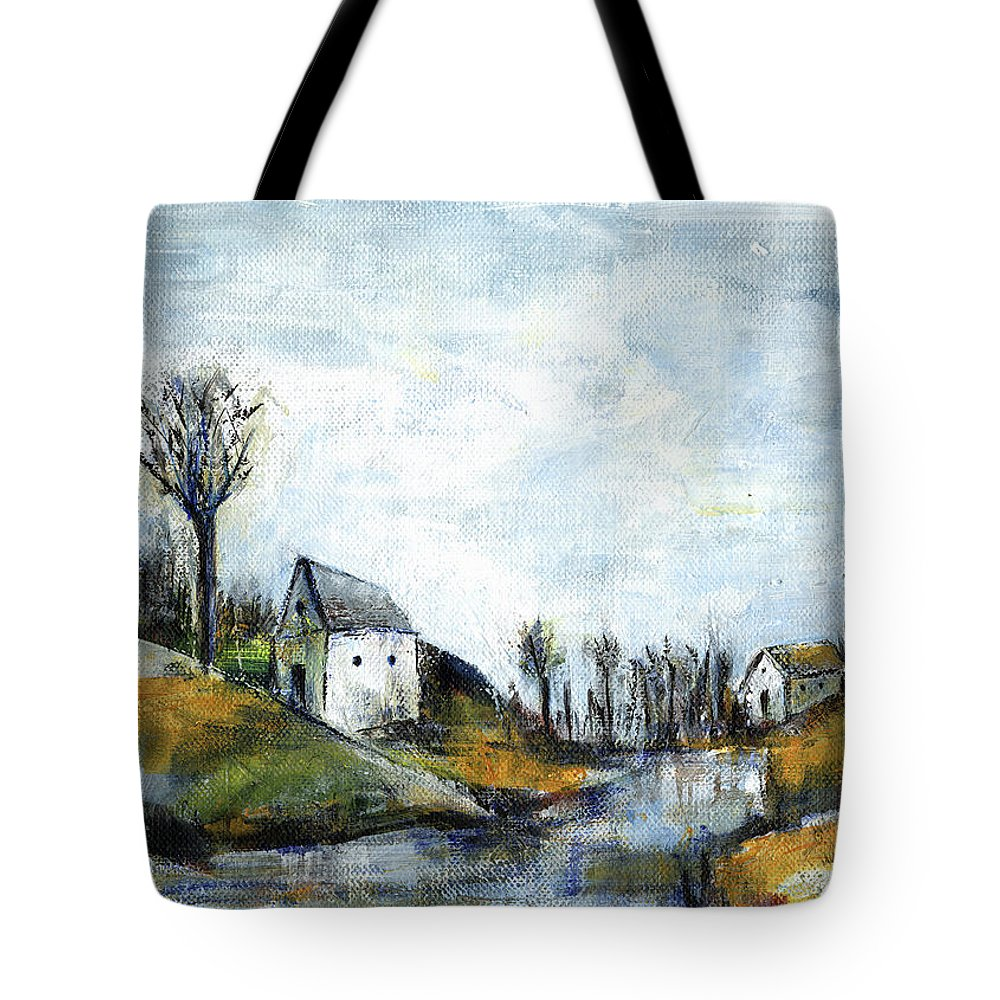 Landscape Tote Bag featuring the painting End of winter - acrylic landscape painting on cotton canvas by Aniko Hencz