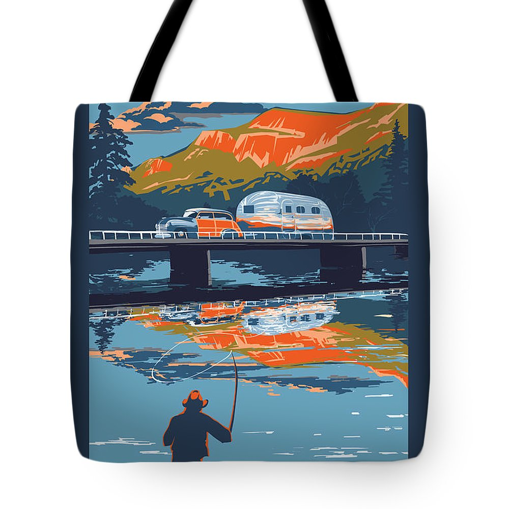 Airstream Art Tote Bag featuring the painting Enderby Cliffs retro Airstream by Sassan Filsoof