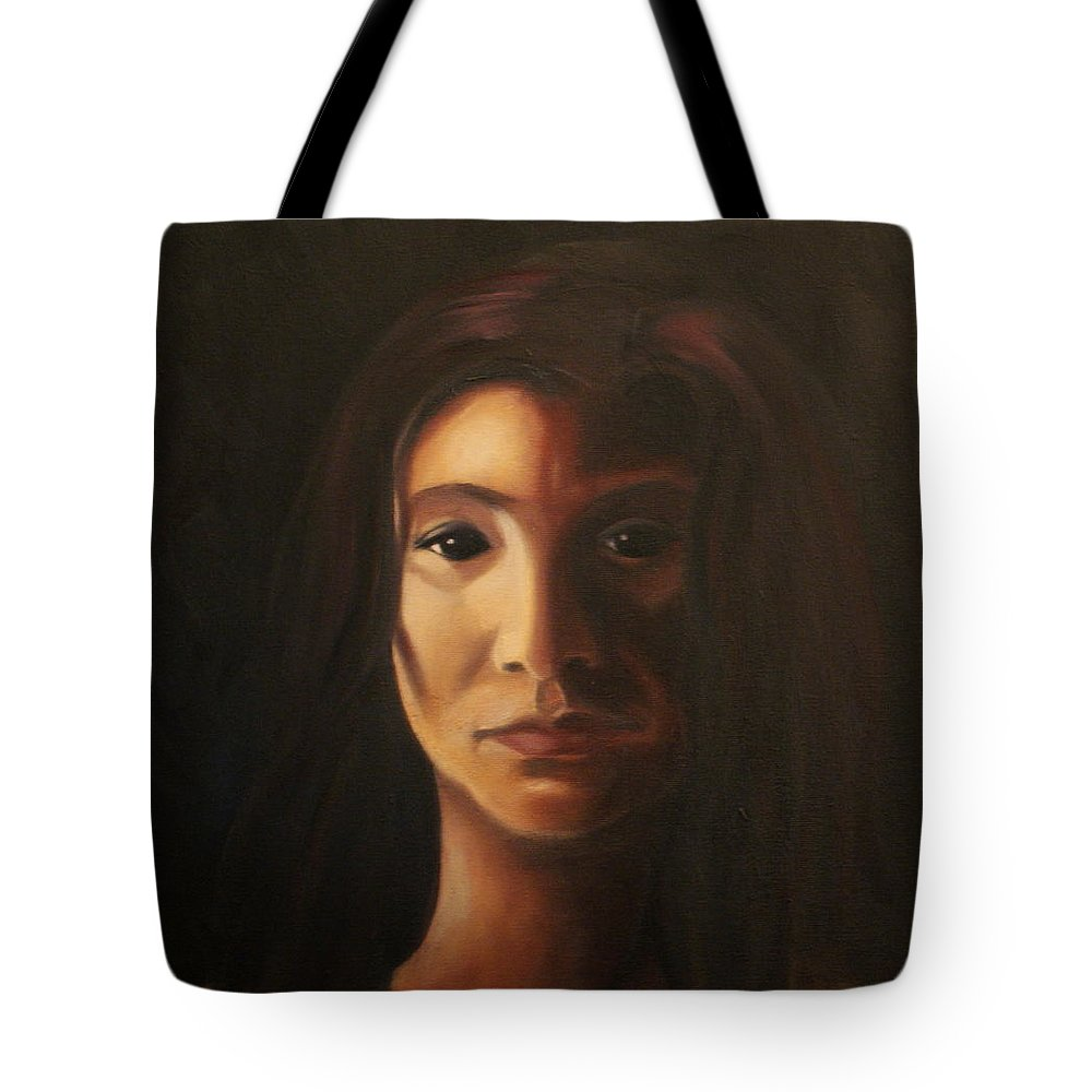 Woman In The Dark Tote Bag featuring the painting Endure by Toni Berry