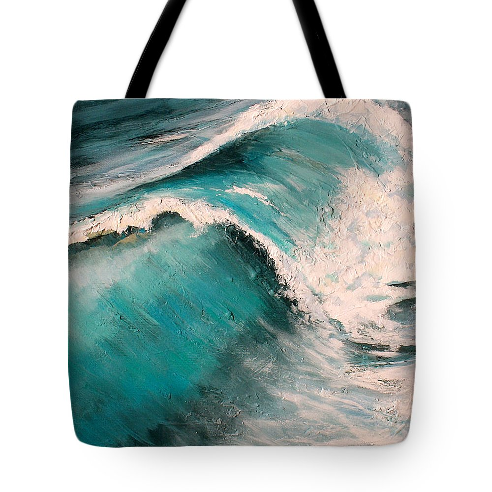 Waves Tote Bag featuring the painting Energy by Racquel Morgan