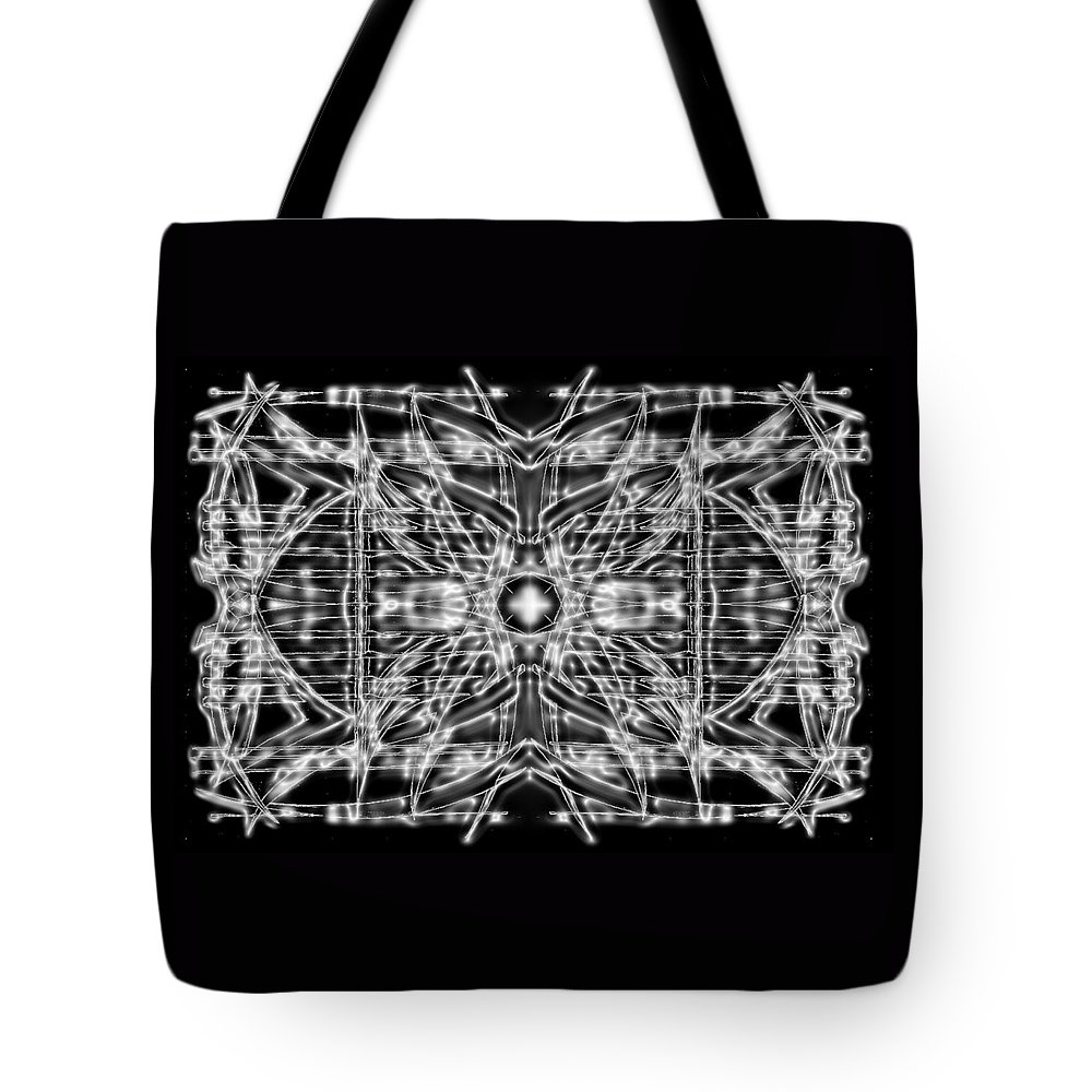 Doodle. Black And White Tote Bag featuring the digital art Energy Restrained by Don Quackenbush