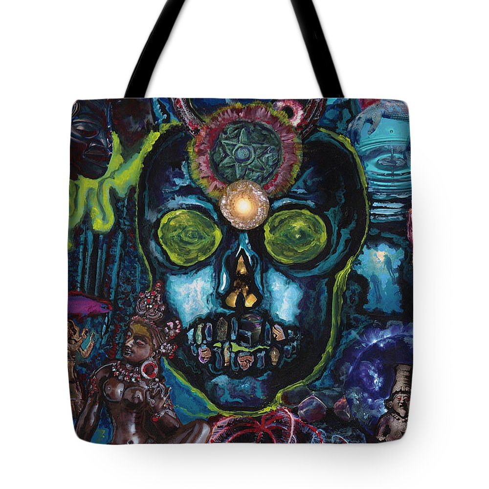 Human Tote Bag featuring the painting Energy Self Portrait by Emily McLaughlin