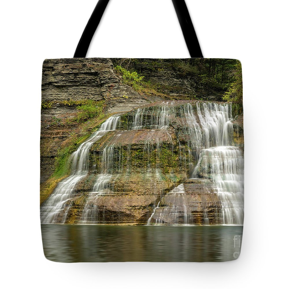 New York Tote Bag featuring the photograph Enfield Falls Tompkins County New York by Karen Jorstad