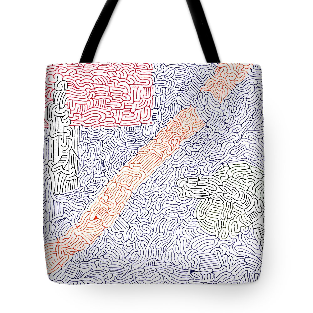 Mazes Tote Bag featuring the drawing Engage by Steven Natanson