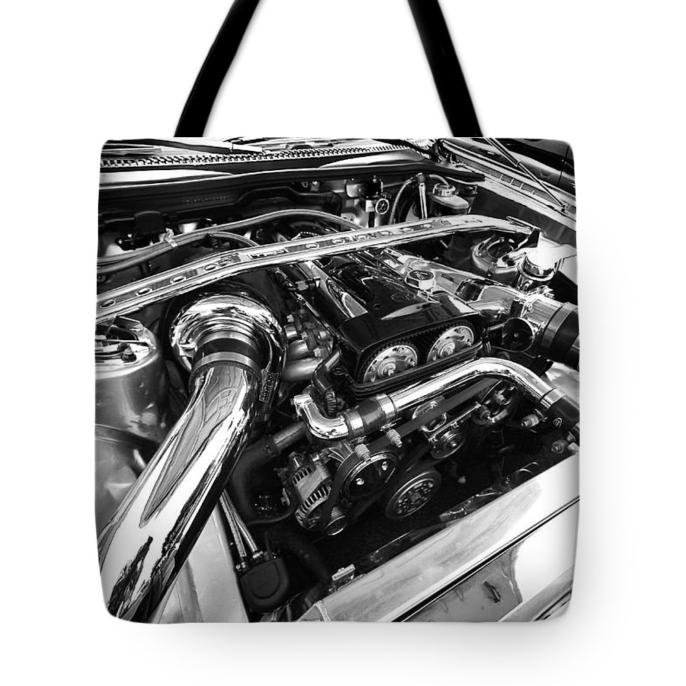 Engine Tote Bag featuring the photograph Engine Bay by Eric Gendron