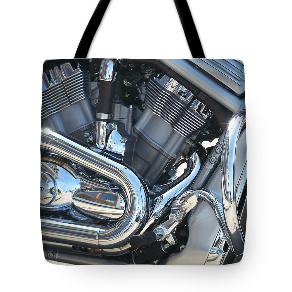 Motorcycle Tote Bag featuring the photograph Engine Close-up 1 by Anita Burgermeister