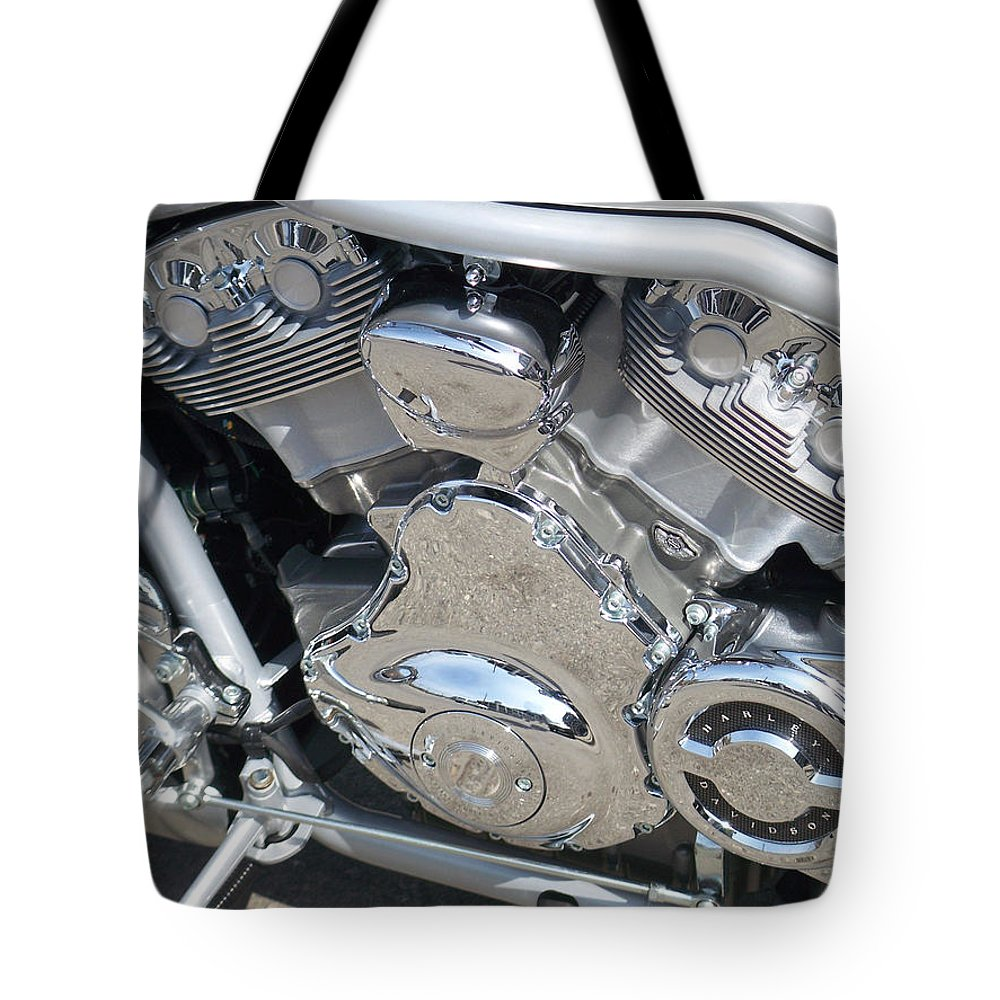 Motorcycle Tote Bag featuring the photograph Engine Close-up 2 by Anita Burgermeister