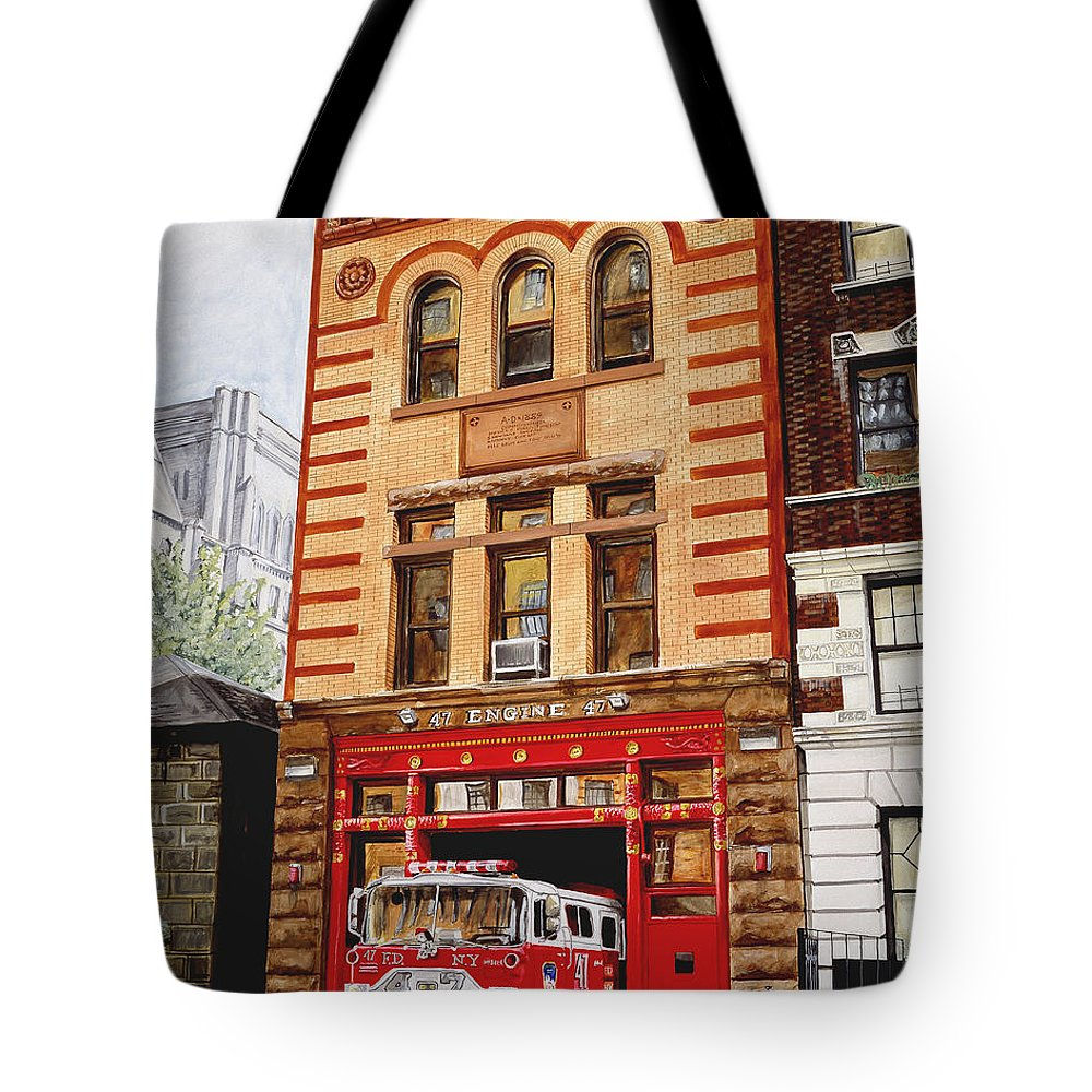 Firehouse Tote Bag featuring the painting Engine Company 47 by Paul Walsh