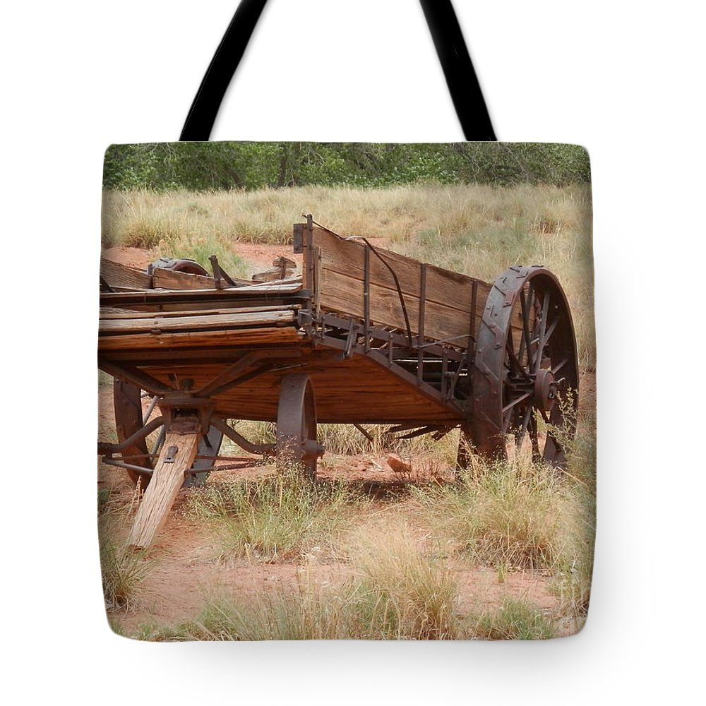 Antiques Tote Bag featuring the photograph Engles Wagon by L Cecka