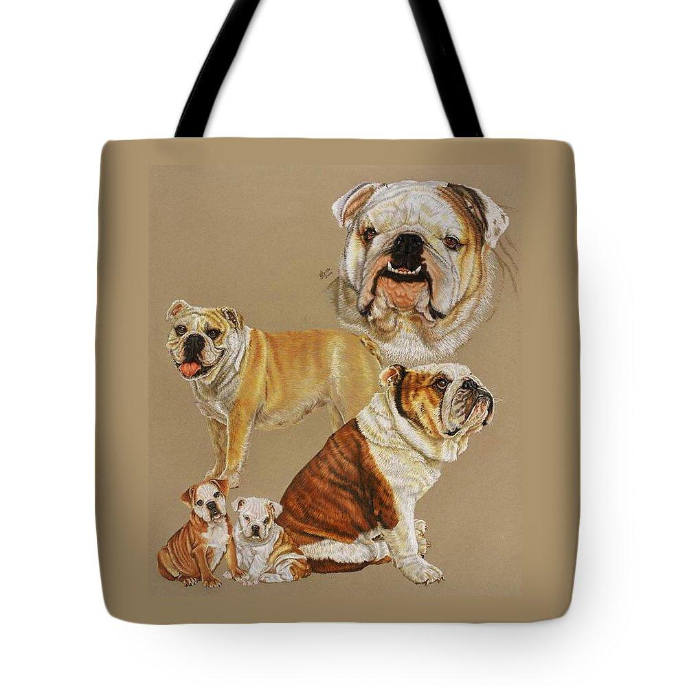 Purebred Tote Bag featuring the drawing English Bulldog by Barbara Keith