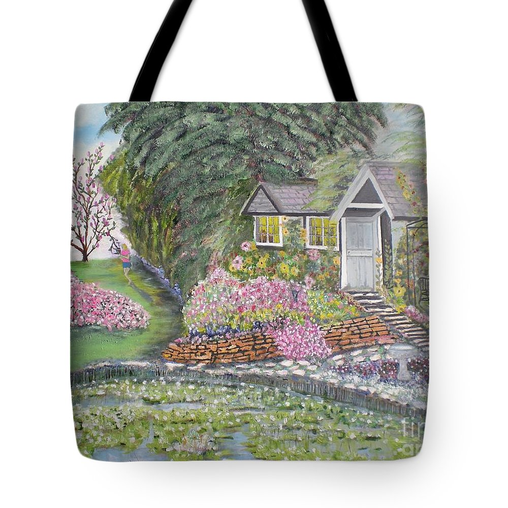 Cottage Tote Bag featuring the painting English Cottage by Hal Newhouser