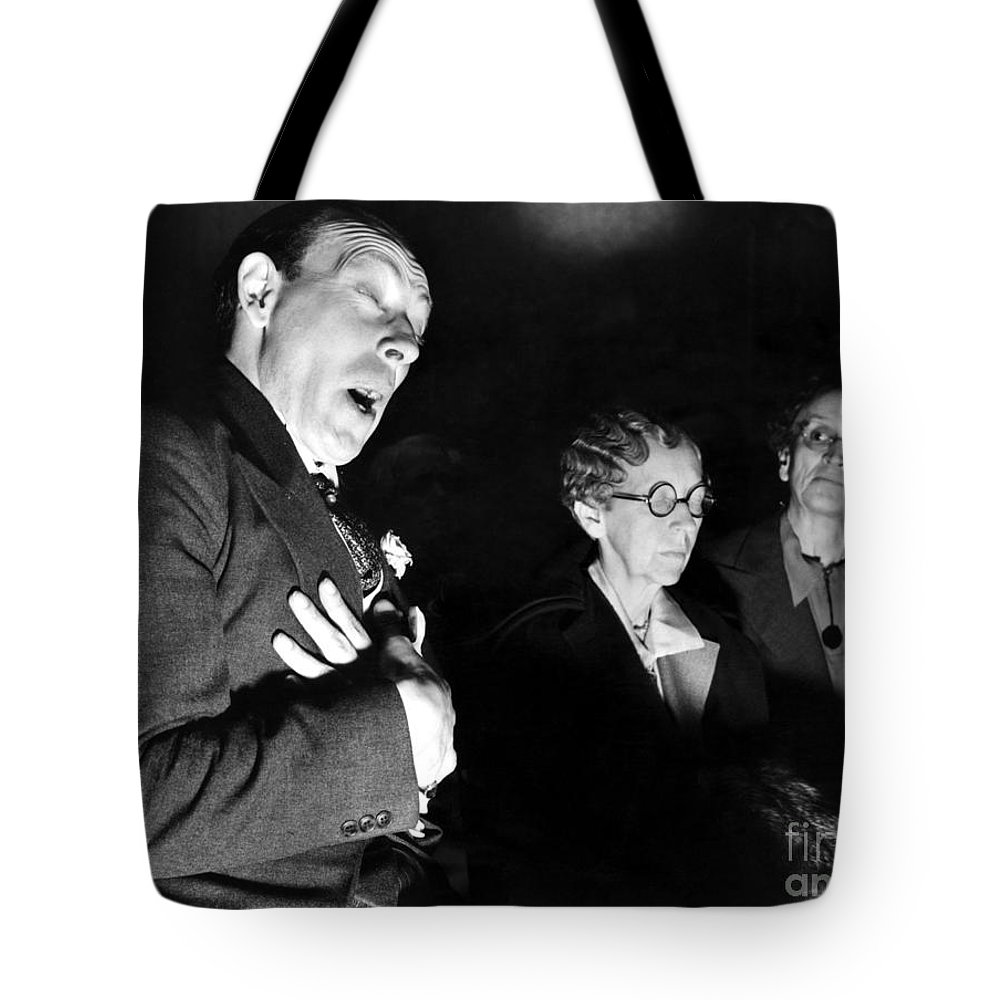 1937 Tote Bag featuring the photograph English Seance by Granger