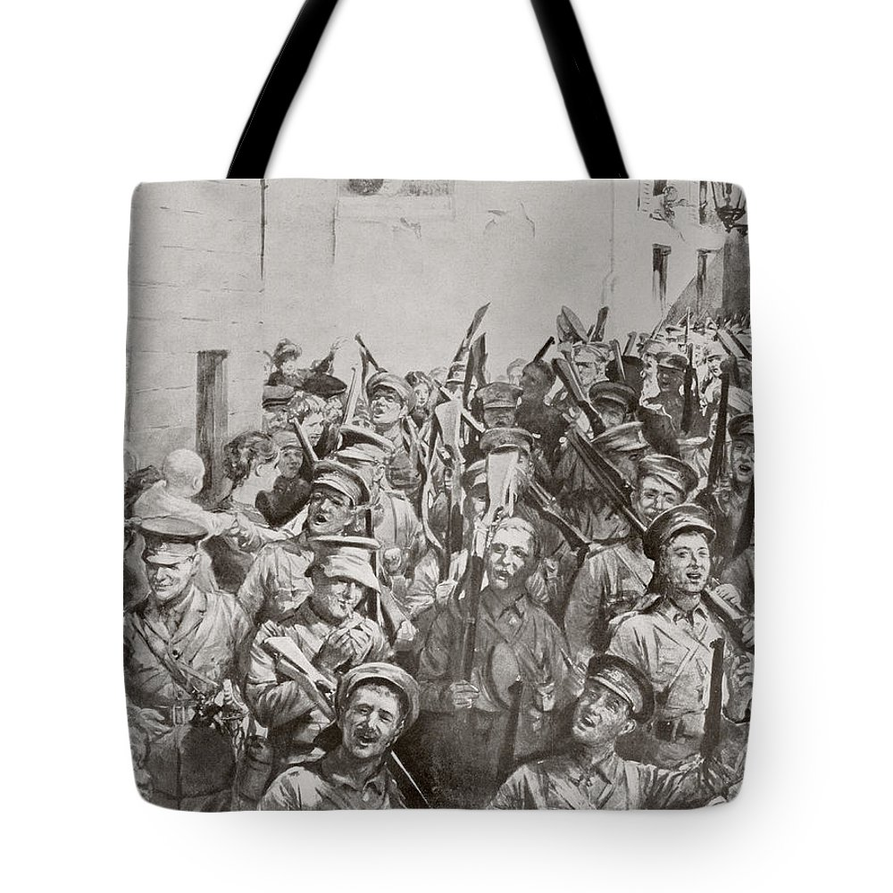 Soldiers Tote Bag featuring the drawing English Soldiers Marching And Singing by Vintage Design Pics