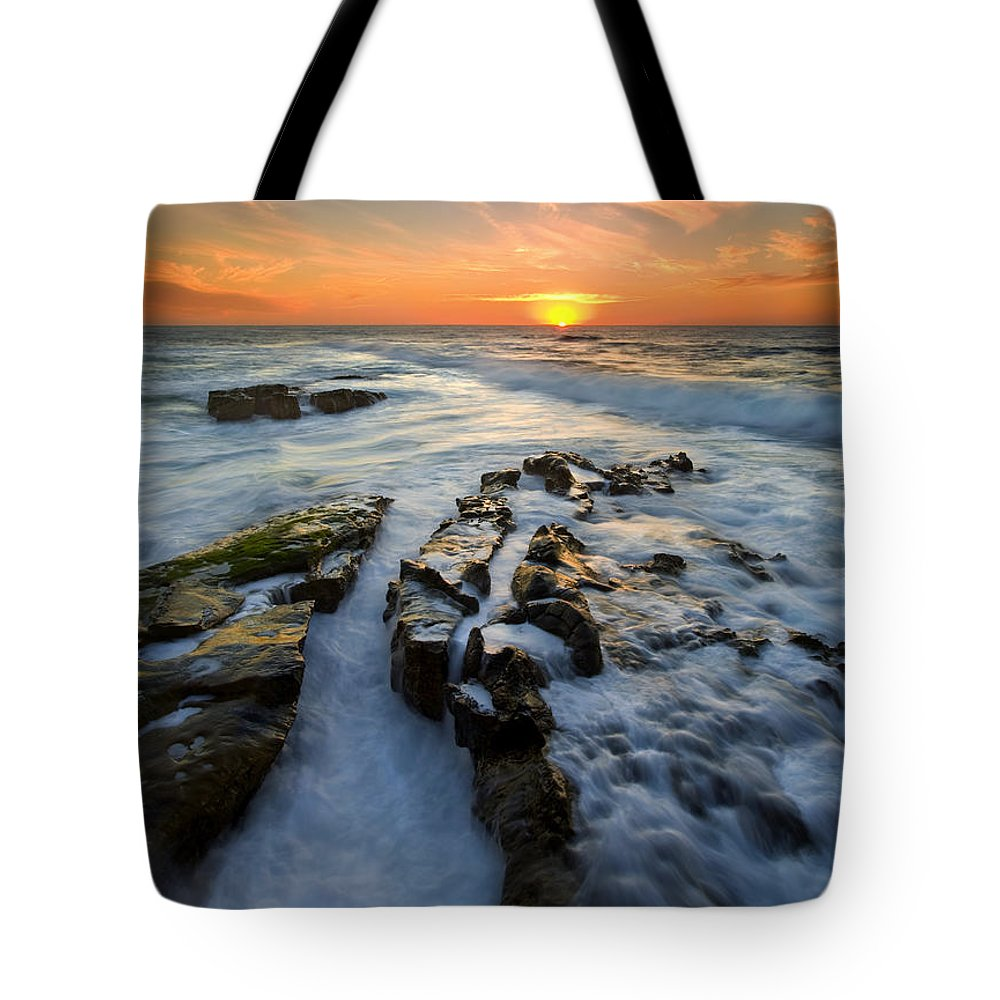 Sunset Tote Bag featuring the photograph Engulfed by Mike Dawson