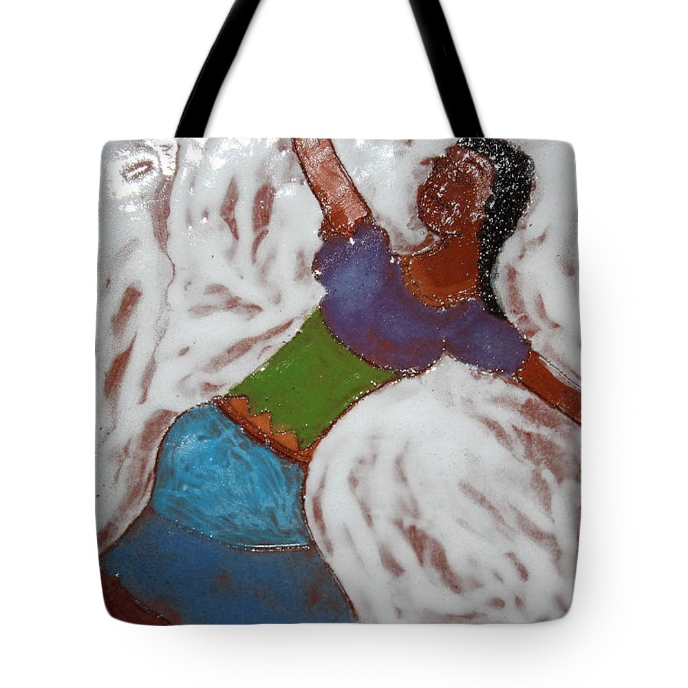 Jesus Tote Bag featuring the ceramic art Enid - Tile by Gloria Ssali